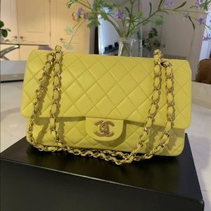 Auth CHANEL Yellow Lambskin M/L Double Flap 2.55